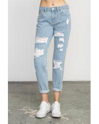 9a0841e0fbf Lyst - Blank NYC Cropped Denim Distressed Skinny Raw Hem Jeans In ...