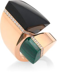 Roberto Coin - Prive Diamond, Black Jade & Malachite Bypass Ring - Lyst