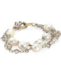John Hardy - Legends Naga 10mm White Baroque Pearl & White Moonstone Triple Row Bracelet - Lyst
