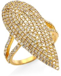 Bavna - 18k Gold & Diamond Pave Teardrop Ring - Lyst