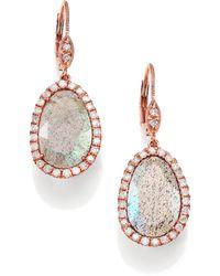 Meira T - Labradorite, Diamond & 14k Rose Gold Leverback Drop Earrings - Lyst