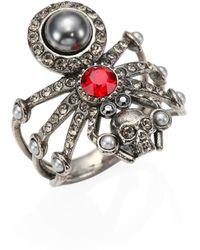 Alexander McQueen | Spider Skull Crystal Ring | Lyst