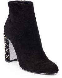 Rene Caovilla - Studded Heel Leather Booties - Lyst