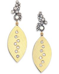 Rene Escobar - Moonstone, Diamond, 18k Yellow Gold & Sterling Silver Leaf Drop Earrings - Lyst