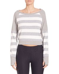 Blanc and Noir - Cropped Striped Sweatshirt - Lyst