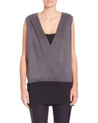 Blanc and Noir - Faux Wrap Hooded Vest - Lyst