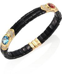 Marina B   Yves Diamond, Black Jade, Pink Tourmaline, Blue Topaz & 18k Yellow Gold Bangle Bracelet   Lyst