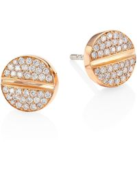 Marli - Verge 18k Rose Gold & Diamond Studs - Lyst