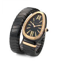 bvlgari serpenti diamond 18k rose gold u0026 black ceramic wraparound tubogas bracelet watch