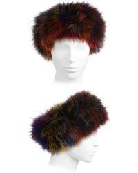 Adrienne Landau - Multicolor Fox Fur Headband - Lyst