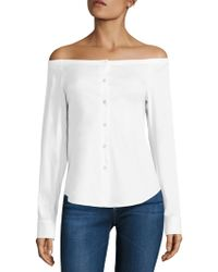 Theory | Auriana Stretch-cotton Off-the-shoulder Top | Lyst