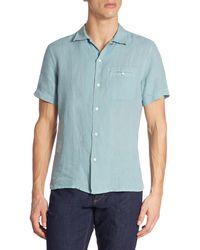 Luciano Barbera - Linen Short Sleeve Shirt - Lyst
