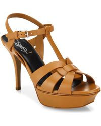 Saint Laurent - Tribute Leather Platform Sandals - Lyst