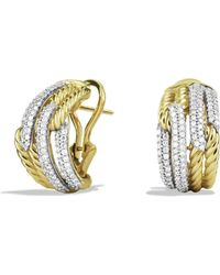 David Yurman - Labyrinth Double-loop Earrings With Diamonds In Gold - Lyst