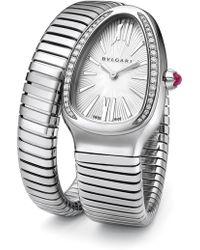 bvlgari serpenti diamond u0026 stainless steel tubogas bracelet watch lyst
