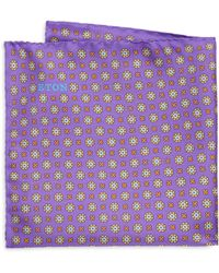 Eton of Sweden - Men's Purple Floral Medallion Pocket Square - Purple - Lyst