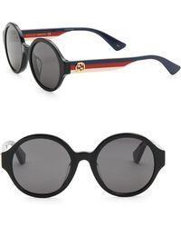 Gucci - 51mm Side Stripe Round Sunglasses - Lyst