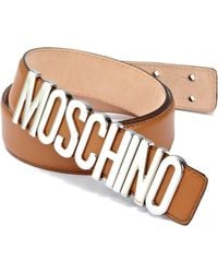Moschino - Logo-buckle Leather Belt - Lyst