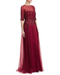 Teri Jon - Women's Three-quarter Sleeve Tulle Gown - Merlot - Size 16 - Lyst