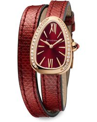 BVLGARI - Serpenti Rose Gold, Diamond & Red Karung Strap Watch - Lyst