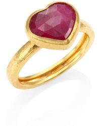 Gurhan - Amulet Hue Ruby & 22-24k Yellow Gold Heart Ring - Lyst
