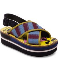 Marni - Striped Criss Cross Leather Color Block Wedge Sandals - Lyst