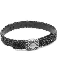 Stinghd - Platinum Square And Leather Bracelet - Lyst