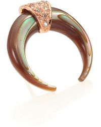 Jacquie Aiche | Abalone, Diamond & 14k Rose Gold Double Horn Single Stud Earring | Lyst