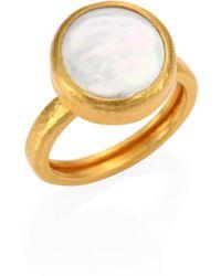 Gurhan - Lentil 13mm White Biwa Pearl & 22-24k Yellow Gold Ring - Lyst
