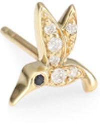 Sydney Evan - Tiny Hummingbird 14k Yellow Gold & Diamond Left Single Stud Earring - Lyst