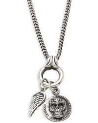 King Baby Studio - Baroque Sterling Silver Baby Skull Coin & Wing Pendant Necklace - Lyst