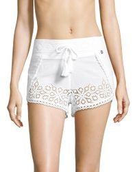 OndadeMar - Eyelet Cotton Shorts - Lyst