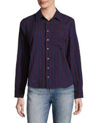 AMO - Ruffled Back Striped Shirt - Lyst