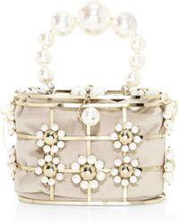Rosantica - Lennon Crystal-embellished Flower Top Handle Bag - Lyst
