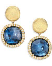 Marco Bicego - Diamond, Blue Topaz & 18k Yellow Gold Post Earrings - Lyst