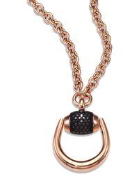 Gucci - Horsebit Black Diamond & 18k Rose Gold Pendant Necklace - Lyst