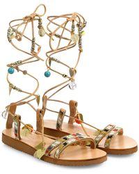 Elina Linardaki | Stardust Embellished Leather Mid-wrap Sandals | Lyst