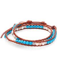 Chan Luu - Pearl, Turquoise & Amazonite Leather Wrap Bracelet - Lyst