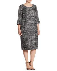 Marina Rinaldi - Definito Scribble-print Silk Dress - Lyst