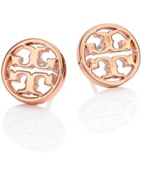 Tory Burch - Logo Circle Stud Earrings/rose Goldtone - Lyst