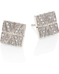 John Hardy - Modern Chain Diamond & Sterling Silver Stud Earrings - Lyst