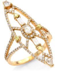 Bavna - 18k Rose Gold & Diamond Cocktail Ring - Lyst