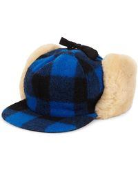 Crown Cap - Buffalo Check Shearling Hat - Lyst