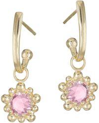 Anzie - 14k Yellow Gold & Pink Topaz Charm Earrings - Lyst