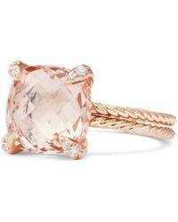 David Yurman - Chã¢telaine® Morganite Ring With Diamonds - Lyst