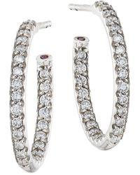"Roberto Coin - 0.52 Tcw Diamond & 18k White Gold Inside-outside Hoop Earrings/0.5"" - Lyst"