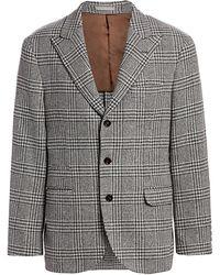 Brunello Cucinelli Houndstooth Checker Wool Jacket - Gray
