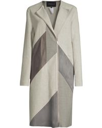 6699d47256ac Lafayette 148 New York - Women's Calf Hair And Leather Combo Coat - Feather  Gray -