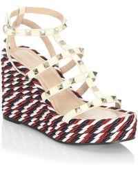 Valentino - Rockstud Leather Wedge Sandals - Lyst
