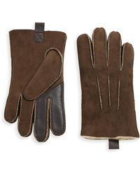 UGG - Contrast Shearling Gloves - Lyst